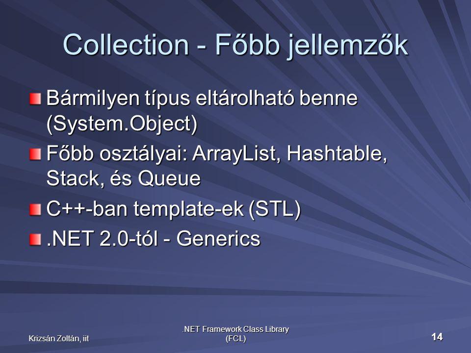 Krizsán Zoltán, iit.NET Framework Class Library (FCL) 14 Collection - Főbb jellemzők Bármilyen típus eltárolható benne (System.Object) Főbb osztályai: ArrayList, Hashtable, Stack, és Queue C++-ban template-ek (STL).NET 2.0-tól - Generics