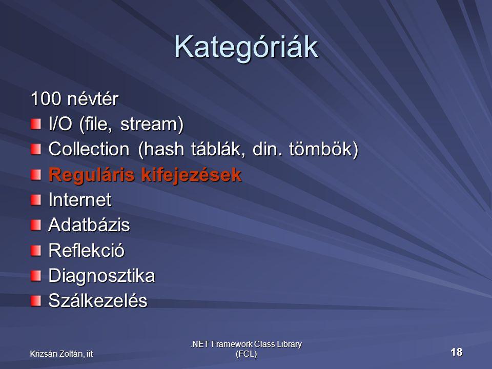 Krizsán Zoltán, iit.NET Framework Class Library (FCL) 18 Kategóriák 100 névtér I/O (file, stream) Collection (hash táblák, din.