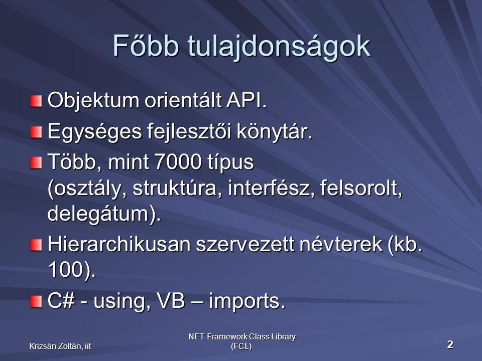 Krizsán Zoltán, iit.NET Framework Class Library (FCL) 2 Főbb tulajdonságok Objektum orientált API.