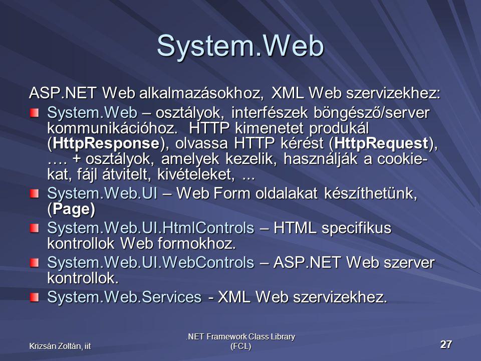Krizsán Zoltán, iit.NET Framework Class Library (FCL) 27 System.Web ASP.NET Web alkalmazásokhoz, XML Web szervizekhez: System.Web – osztályok, interfészek böngésző/server kommunikációhoz.