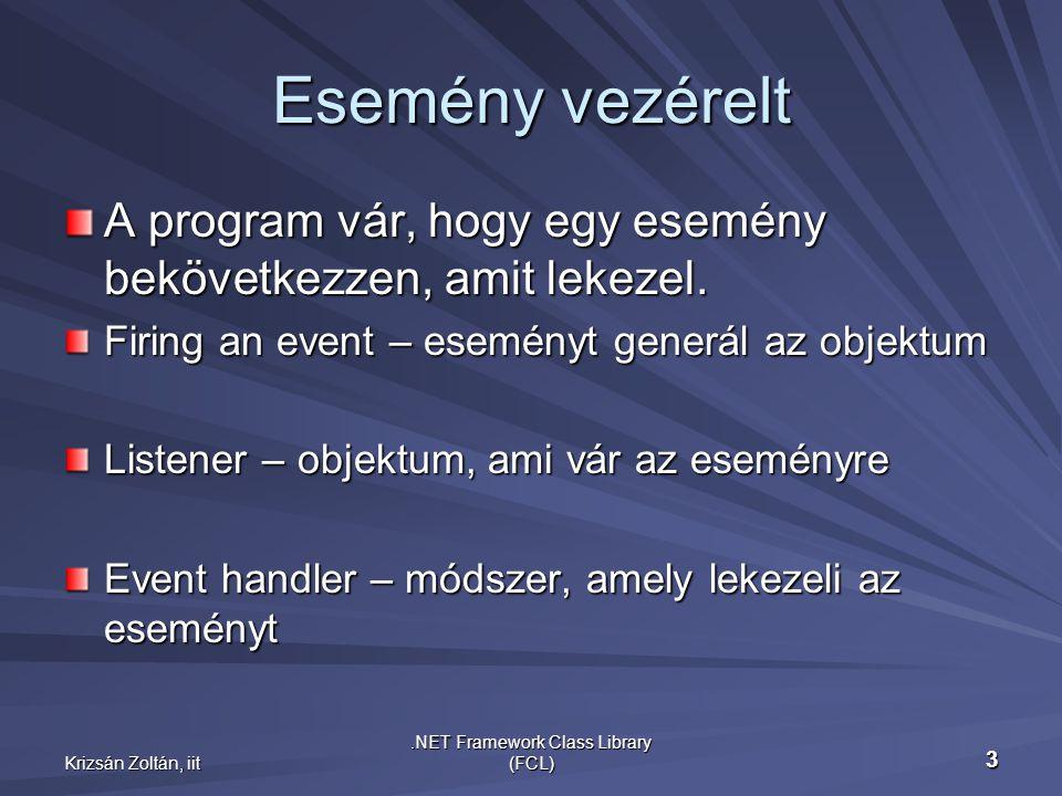 Krizsán Zoltán, iit.NET Framework Class Library (FCL) 3 Esemény vezérelt A program vár, hogy egy esemény bekövetkezzen, amit lekezel.