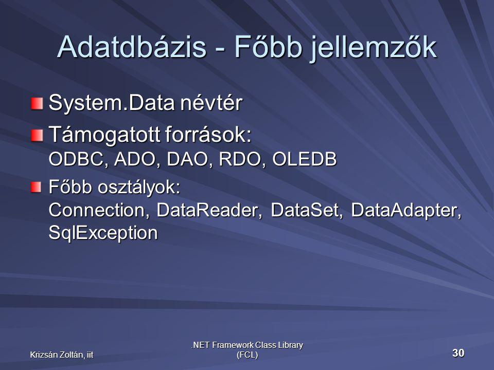 Krizsán Zoltán, iit.NET Framework Class Library (FCL) 30 Adatdbázis - Főbb jellemzők System.Data névtér Támogatott források: ODBC, ADO, DAO, RDO, OLEDB Főbb osztályok: Connection, DataReader, DataSet, DataAdapter, SqlException