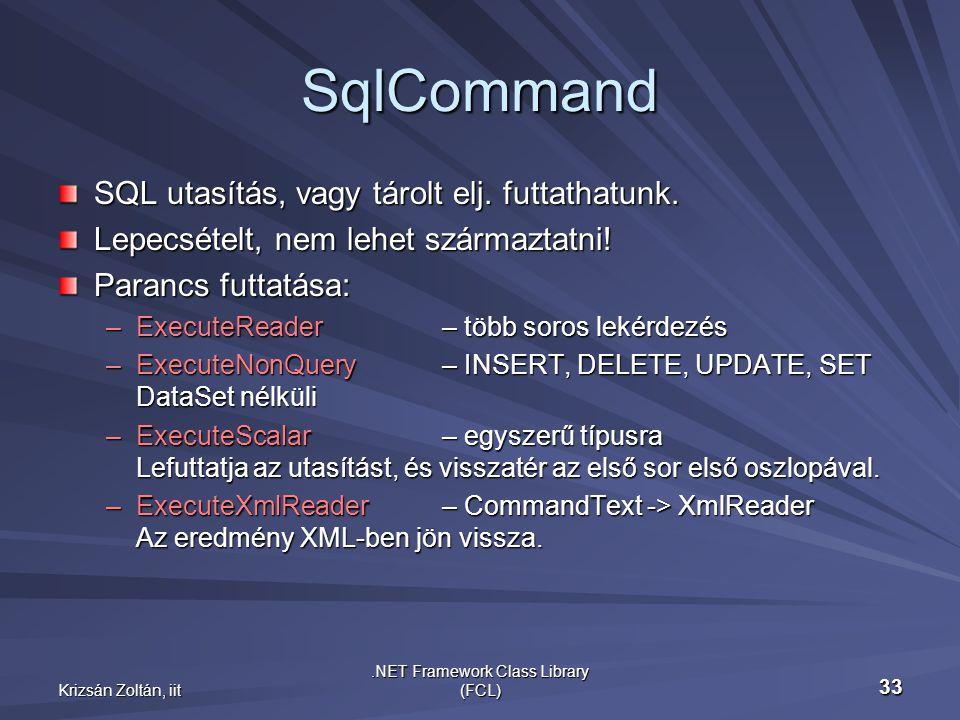 Krizsán Zoltán, iit.NET Framework Class Library (FCL) 33 SqlCommand SQL utasítás, vagy tárolt elj.