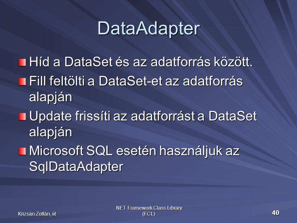 Krizsán Zoltán, iit.NET Framework Class Library (FCL) 40 DataAdapter Híd a DataSet és az adatforrás között.