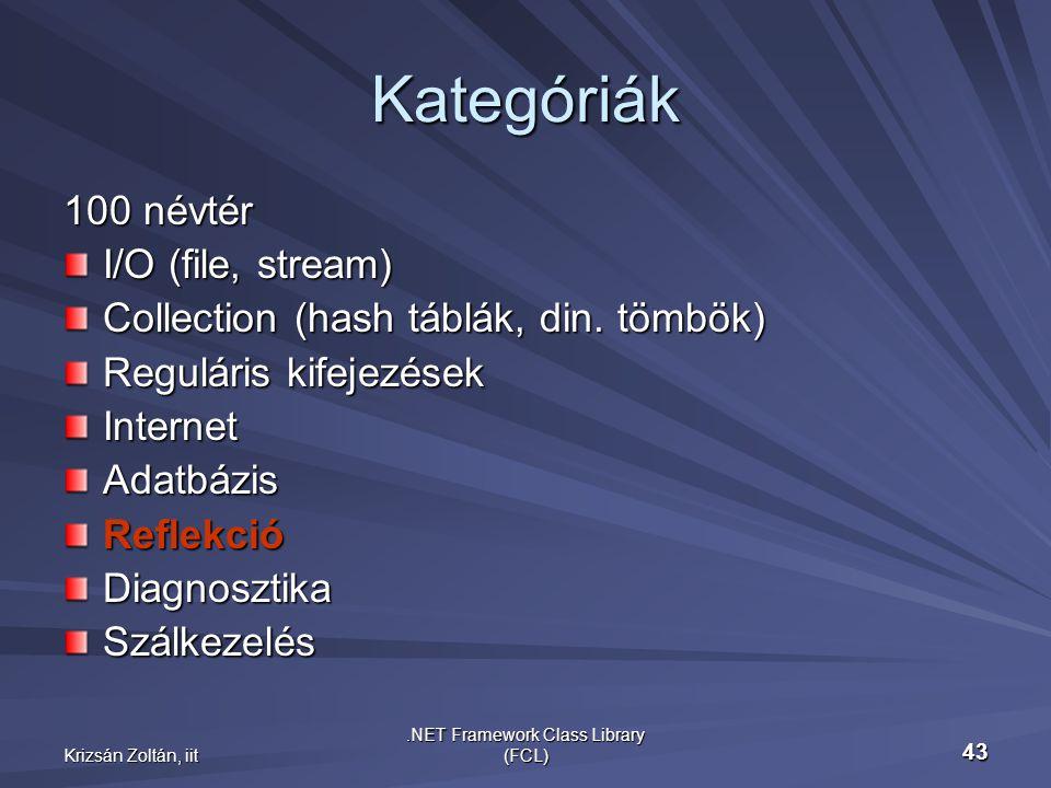 Krizsán Zoltán, iit.NET Framework Class Library (FCL) 43 Kategóriák 100 névtér I/O (file, stream) Collection (hash táblák, din.