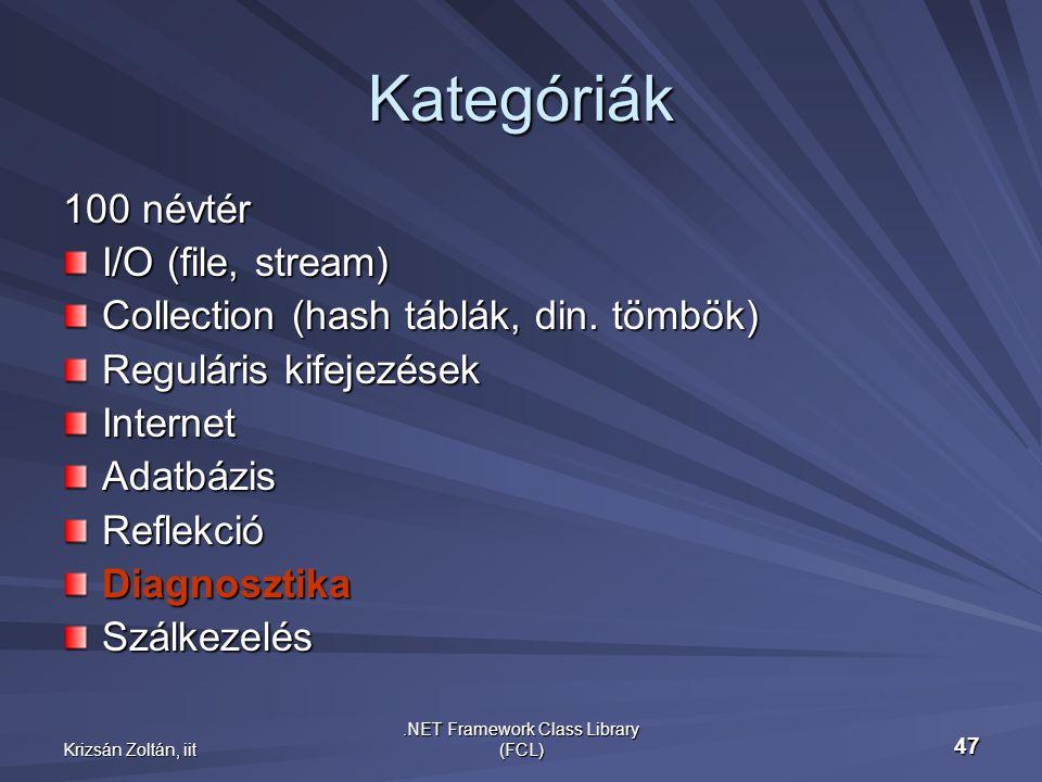 Krizsán Zoltán, iit.NET Framework Class Library (FCL) 47 Kategóriák 100 névtér I/O (file, stream) Collection (hash táblák, din.
