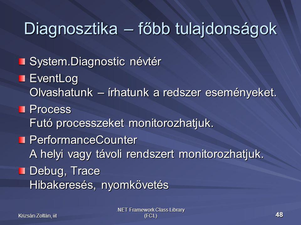 Krizsán Zoltán, iit.NET Framework Class Library (FCL) 48 Diagnosztika – főbb tulajdonságok System.Diagnostic névtér EventLog Olvashatunk – írhatunk a redszer eseményeket.
