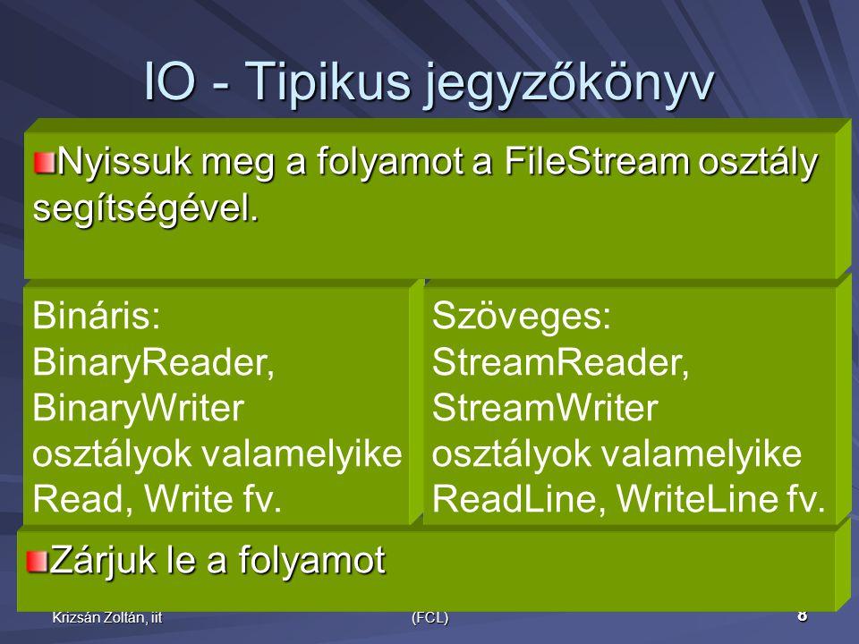 Krizsán Zoltán, iit.NET Framework Class Library (FCL) 8 IO - Tipikus jegyzőkönyv Zárjuk le a folyamot Bináris: BinaryReader, BinaryWriter osztályok valamelyike Read, Write fv.