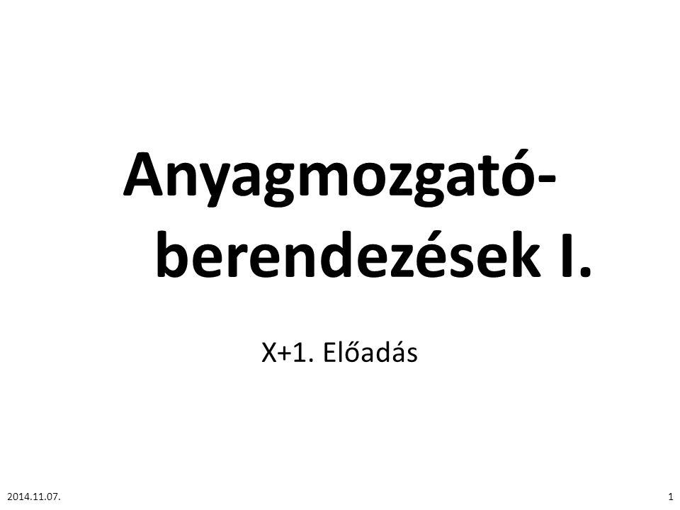 Anyagmozgató- berendezések I. X+1. Előadás 12014.11.07.