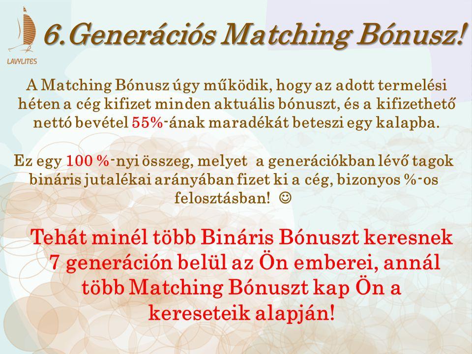 6.Generációs Matching Bónusz! A Matching Bónusz úgy működik, hogy az adott termelési héten a cég kifizet minden aktuális bónuszt, és a kifizethető net