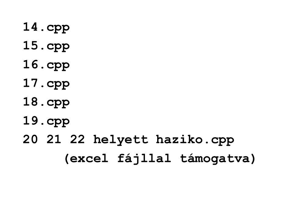 14.cpp 15.cpp 16.cpp 17.cpp 18.cpp 19.cpp 20 21 22 helyett haziko.cpp (excel fájllal támogatva)