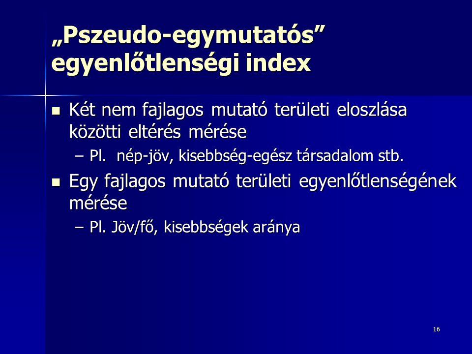 """16 """"Pszeudo-egymutatós egyenlőtlenségi index Két nem fajlagos mutató területi eloszlása közötti eltérés mérése Két nem fajlagos mutató területi eloszlása közötti eltérés mérése –Pl."""