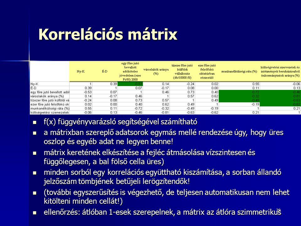 29 Korrelációs mátrix f(x) függvényvarázsló segítségével számítható f(x) függvényvarázsló segítségével számítható a mátrixban szereplő adatsorok egymás mellé rendezése úgy, hogy üres oszlop és egyéb adat ne legyen benne.