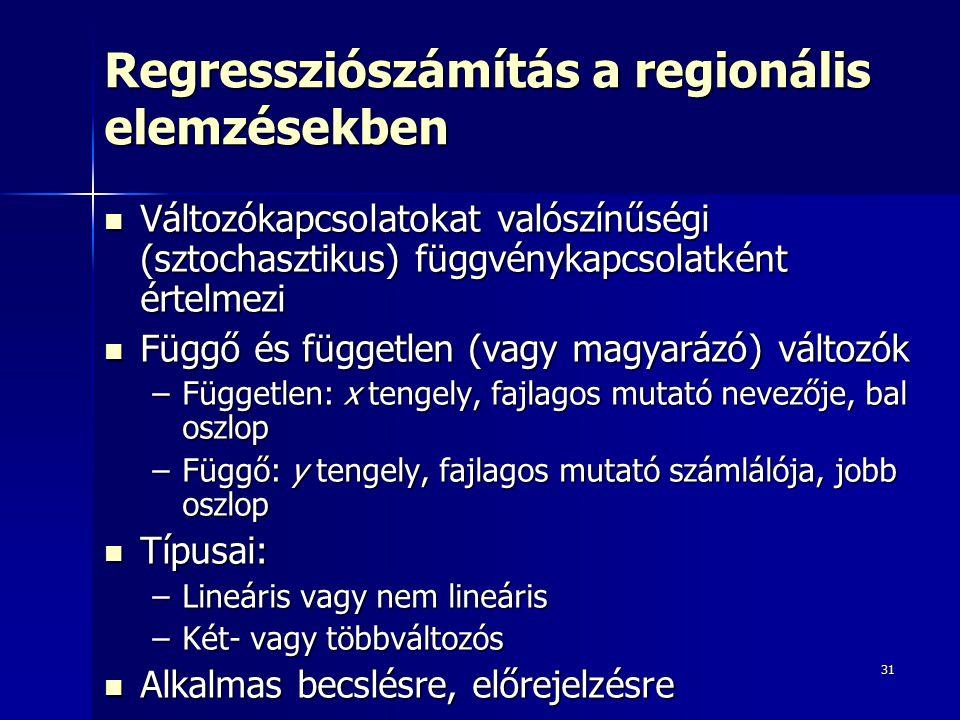 31 Regressziószámítás a regionális elemzésekben Változókapcsolatokat valószínűségi (sztochasztikus) függvénykapcsolatként értelmezi Változókapcsolatokat valószínűségi (sztochasztikus) függvénykapcsolatként értelmezi Függő és független (vagy magyarázó) változók Függő és független (vagy magyarázó) változók –Független: x tengely, fajlagos mutató nevezője, bal oszlop –Függő: y tengely, fajlagos mutató számlálója, jobb oszlop Típusai: Típusai: –Lineáris vagy nem lineáris –Két- vagy többváltozós Alkalmas becslésre, előrejelzésre Alkalmas becslésre, előrejelzésre