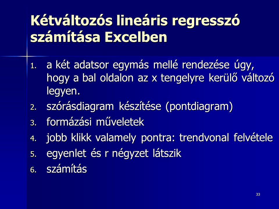 33 Kétváltozós lineáris regresszó számítása Excelben 1.