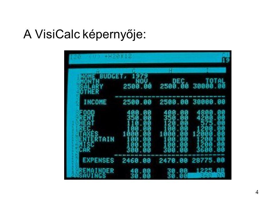 4 A VisiCalc képernyője: