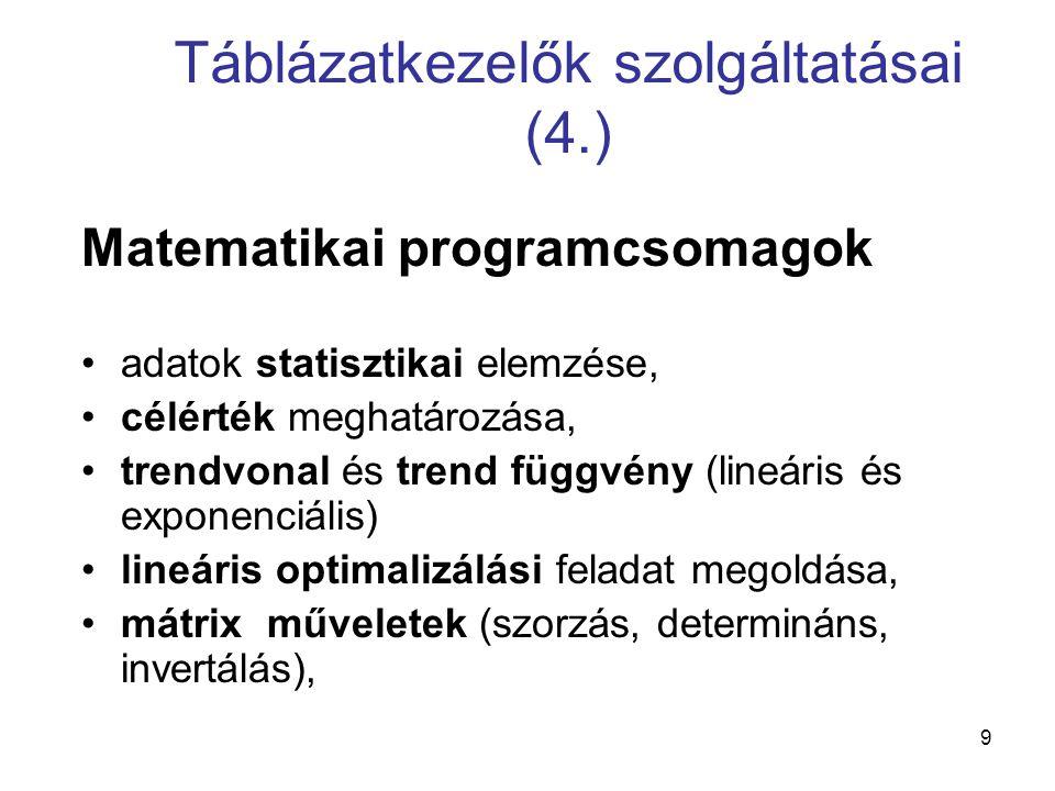 9 Táblázatkezelők szolgáltatásai (4.) Matematikai programcsomagok adatok statisztikai elemzése, célérték meghatározása, trendvonal és trend függvény (lineáris és exponenciális) lineáris optimalizálási feladat megoldása, mátrix műveletek (szorzás, determináns, invertálás),