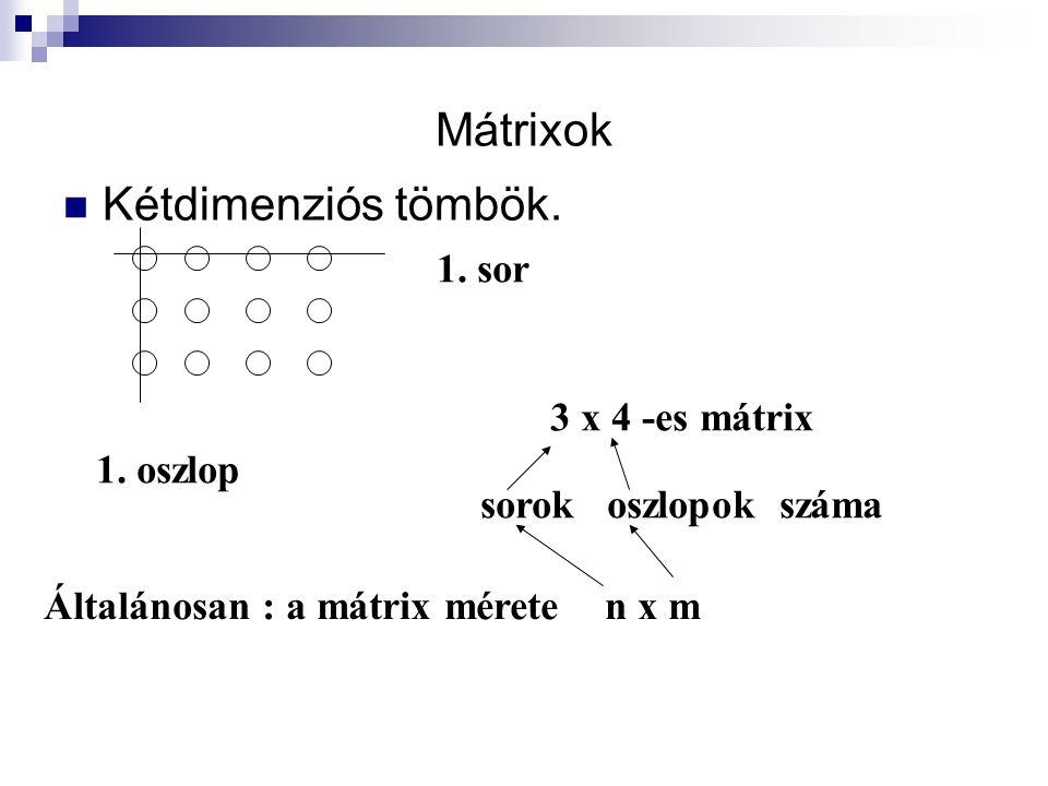 Mátrixok Kétdimenziós tömbök. 3 x 4 -es mátrix sorok oszlopok száma Általánosan : a mátrix mérete n x m 1. sor 1. oszlop