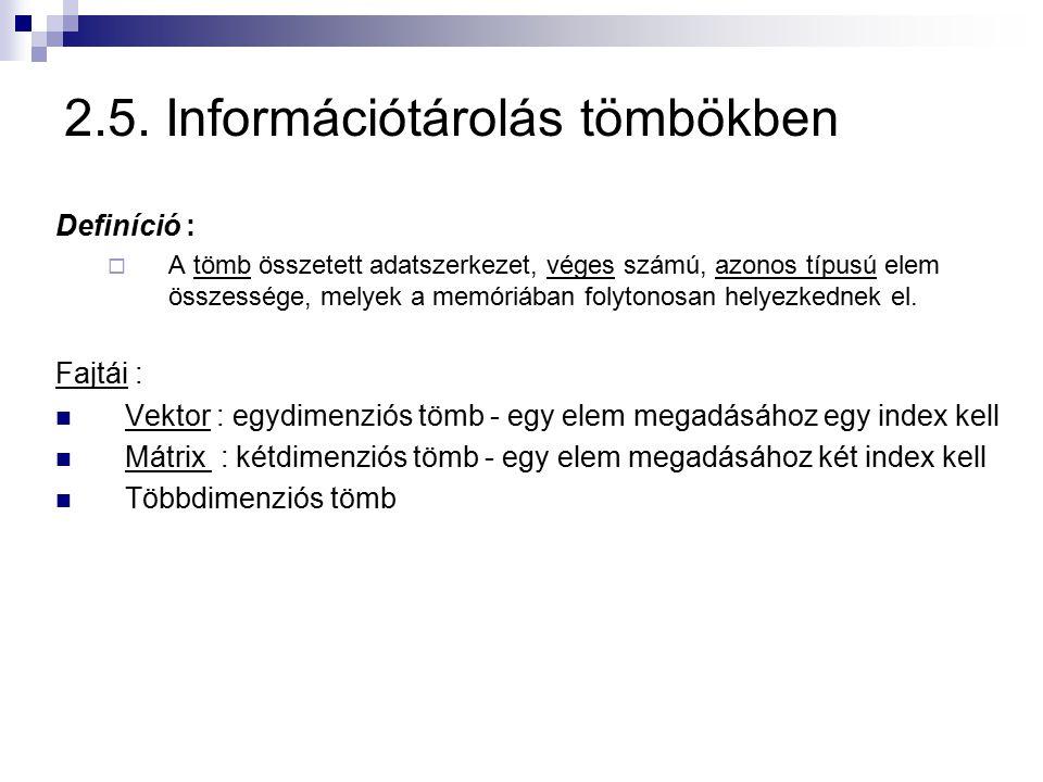 2.5. Információtárolás tömbökben Definíció :  A tömb összetett adatszerkezet, véges számú, azonos típusú elem összessége, melyek a memóriában folyton