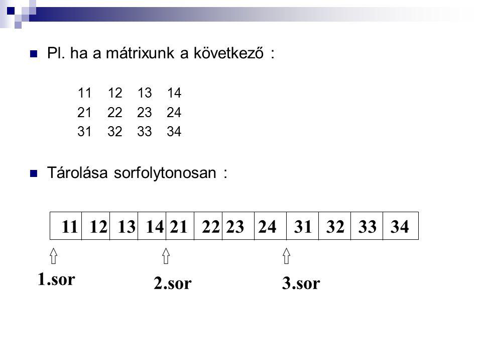 Pl. ha a mátrixunk a következő : 11 12 13 14 21 22 23 24 31 32 33 34 Tárolása sorfolytonosan : 111213142122232431323334 1.sor 2.sor3.sor