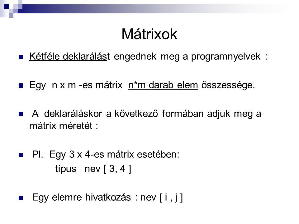 Mátrixok Kétféle deklarálást engednek meg a programnyelvek : Egy n x m -es mátrix n*m darab elem összessége. A deklaráláskor a következő formában adju
