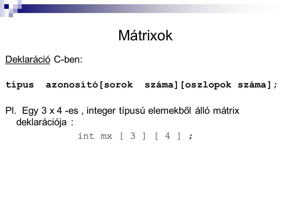 Mátrixok Deklaráció C-ben: típus azonosító[sorok száma][oszlopok száma]; Pl. Egy 3 x 4 -es, integer típusú elemekből álló mátrix deklarációja : int mx