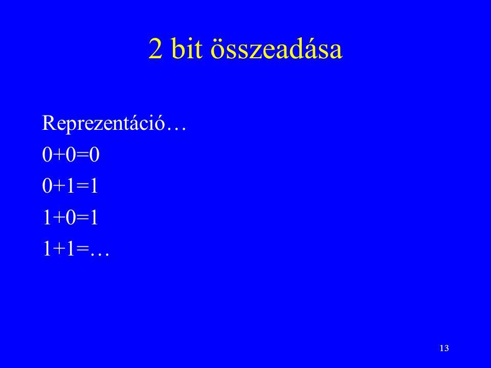 13 2 bit összeadása Reprezentáció… 0+0=0 0+1=1 1+0=1 1+1=…