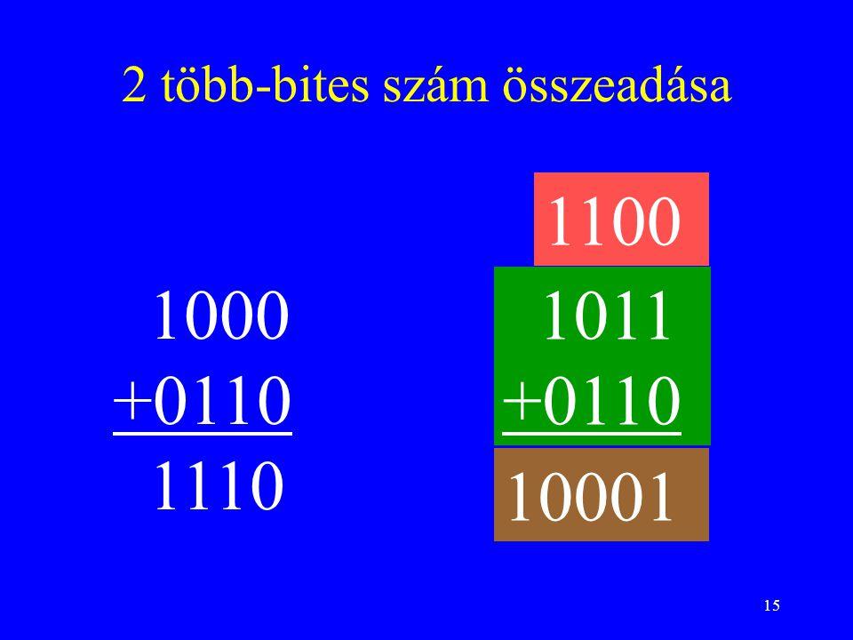 15 2 több-bites szám összeadása 1000 +0110 1110 1011 +0110 1100 10001