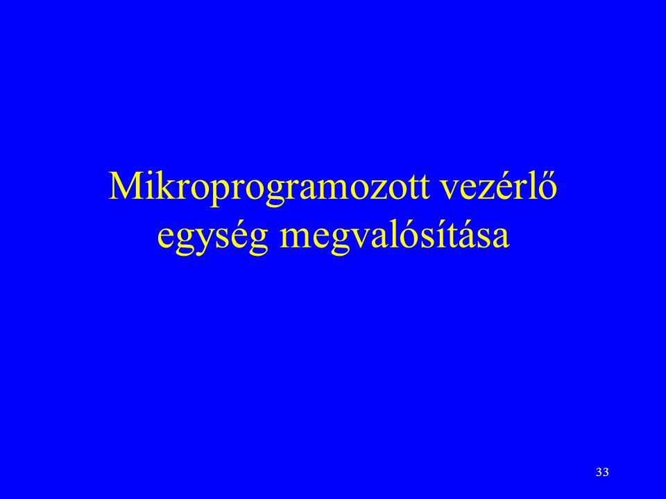 33 Mikroprogramozott vezérlő egység megvalósítása