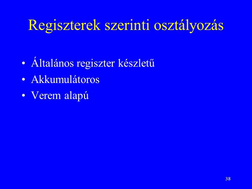 38 Regiszterek szerinti osztályozás Általános regiszter készletű Akkumulátoros Verem alapú