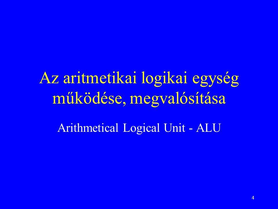4 Az aritmetikai logikai egység működése, megvalósítása Arithmetical Logical Unit - ALU