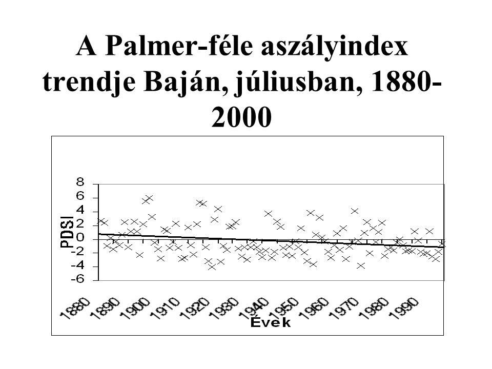 A Palmer-féle aszályindex trendje Baján, júliusban, 1880- 2000