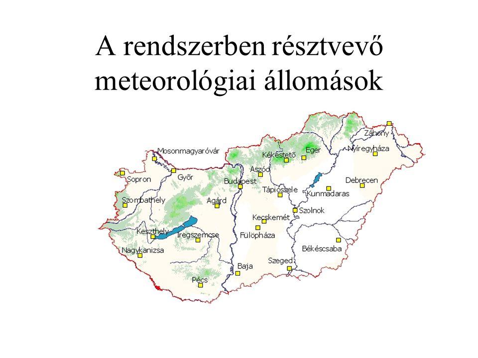 A rendszerben résztvevő meteorológiai állomások