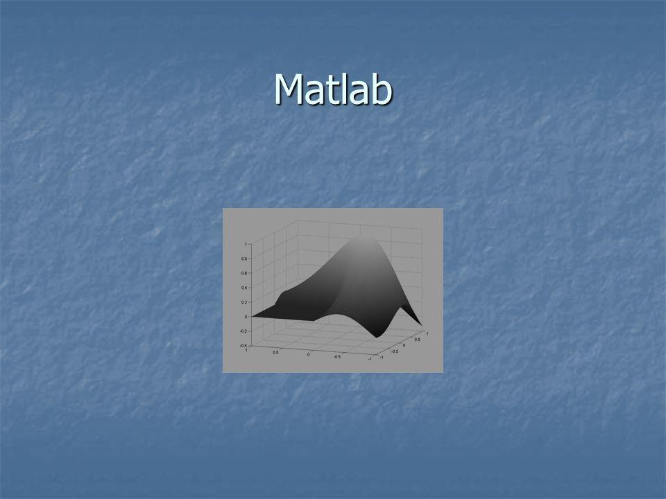 Mátrix műveletek 1 2 1 9 3 4 5 7 C=D= 1 2 3 4 1 9 5 7 C*D= 53 82 55 116 C'= 1 3 2 4 1 5 9 7 0.84 0.90 0.84 0.41 0.14 -0.75 -0.95 0.65 Sin(C)= 1 0 0 0 (C==1) = C.* D'= 1 6 1 45 6 16 45 49 1./(C-4)= -0.33 -0.5 -0.33 0.2 -1.00 Inf 1.00 0.33