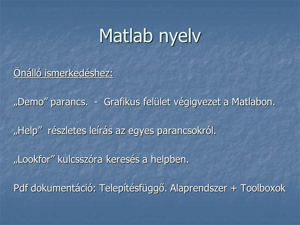 """Matlab nyelv Önálló ismerkedéshez: """"Demo parancs."""
