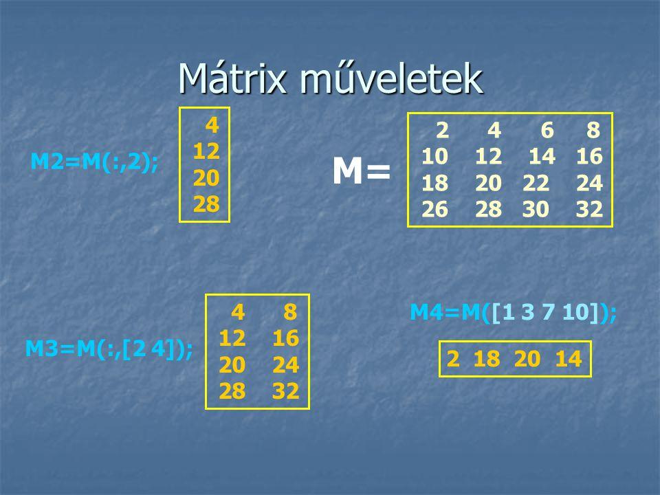 Mátrix műveletek 2 4 6 8 10 12 14 16 18 20 22 24 26 28 30 32 M= M2=M(:,2); 4 12 20 28 M3=M(:,[2 4]); 4 8 12 16 20 24 28 32 M4=M([1 3 7 10]); 2 18 20 14