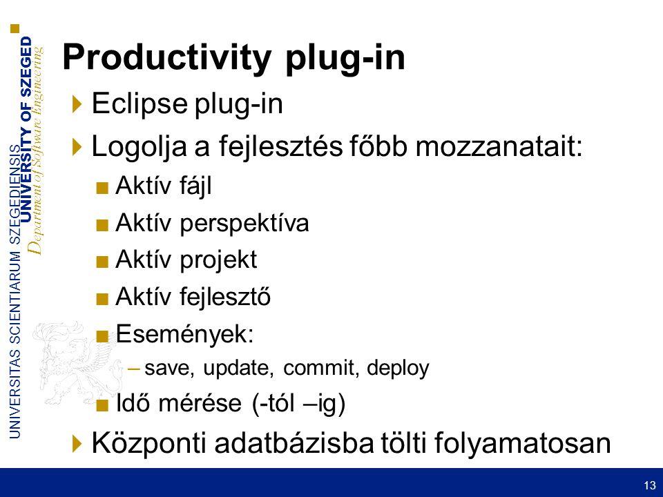 UNIVERSITY OF SZEGED D epartment of Software Engineering UNIVERSITAS SCIENTIARUM SZEGEDIENSIS Productivity plug-in  Eclipse plug-in  Logolja a fejlesztés főbb mozzanatait: ■Aktív fájl ■Aktív perspektíva ■Aktív projekt ■Aktív fejlesztő ■Események: –save, update, commit, deploy ■Idő mérése (-tól –ig)  Központi adatbázisba tölti folyamatosan 13