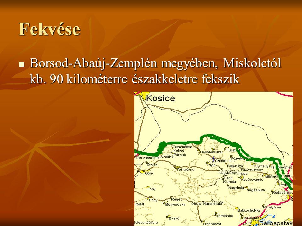 Fekvése Borsod-Abaúj-Zemplén megyében, Miskolctól kb. 90 kilométerre északkeletre fekszik Borsod-Abaúj-Zemplén megyében, Miskolctól kb. 90 kilométerre