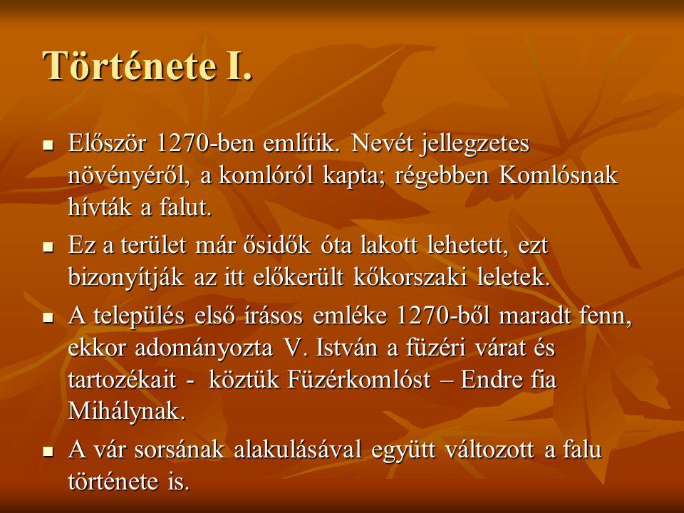 Története I. Először 1270-ben említik. Nevét jellegzetes növényéről, a komlóról kapta; régebben Komlósnak hívták a falut. Először 1270-ben említik. Ne