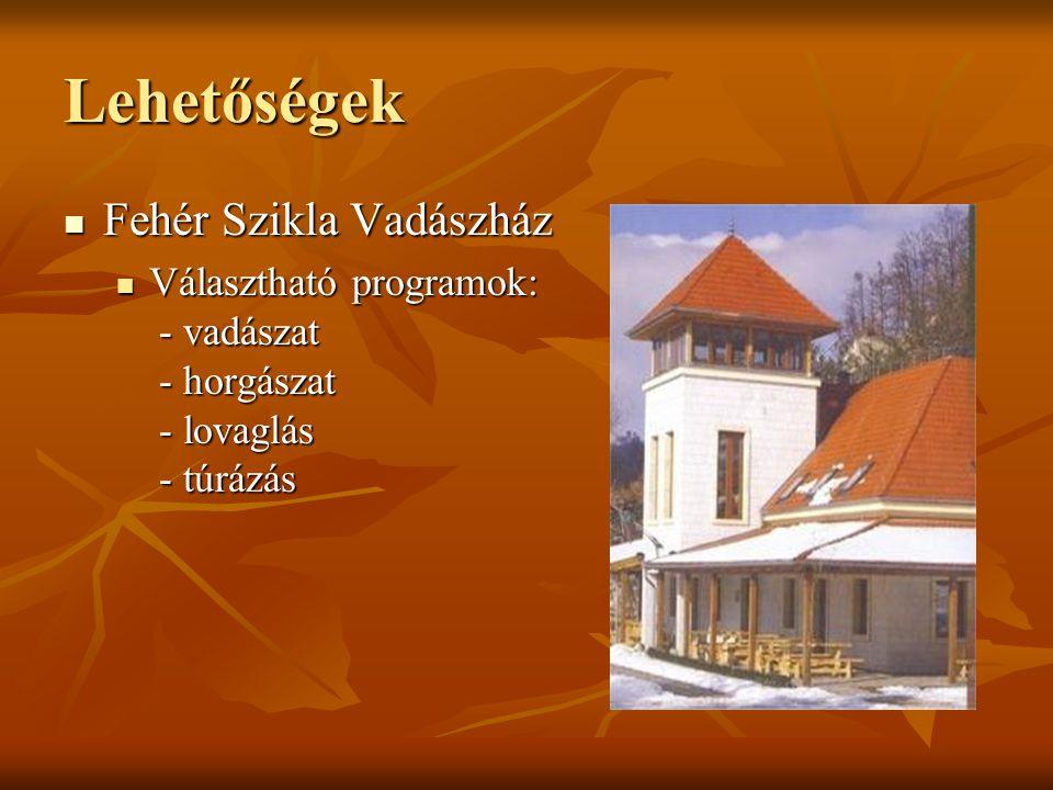Lehetőségek Fehér Szikla Vadászház Fehér Szikla Vadászház Választható programok: - vadászat - horgászat - lovaglás - túrázás Választható programok: -