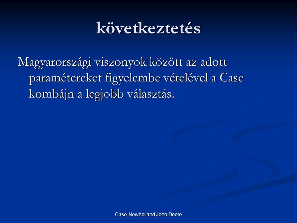 Case-Newholland-John Deere következtetés Magyarországi viszonyok között az adott paramétereket figyelembe vételével a Case kombájn a legjobb választás.