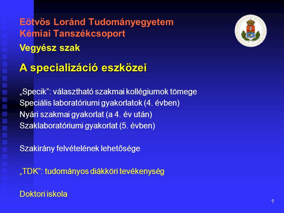 """7 Eötvös Loránd Tudományegyetem Kémiai Tanszékcsoport """"Specik"""": választható szakmai kollégiumok tömege Speciális laboratóriumi gyakorlatok (4. évben)"""