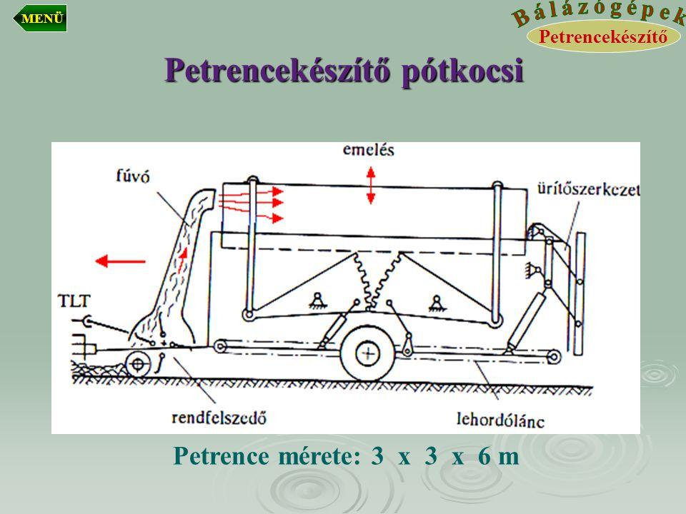 Petrencekészítő pótkocsi Petrence mérete: 3 x 3 x 6 m Petrencekészítő MENÜ