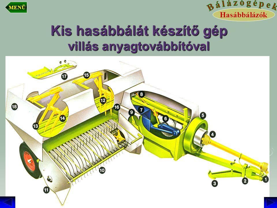 Kis hasábbálát készítő gép villás anyagtovábbítóval Hasábbálázók MENÜ