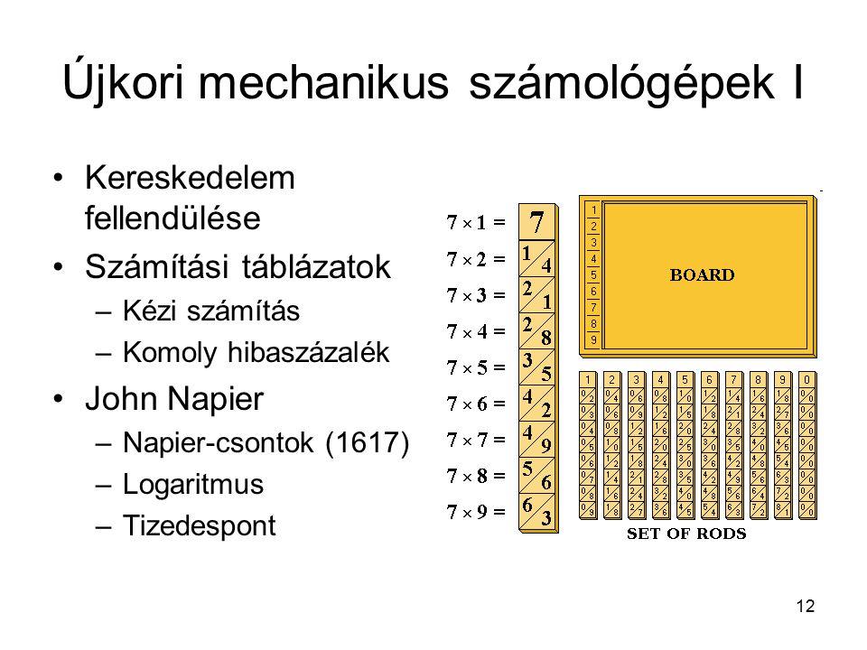 12 Újkori mechanikus számológépek I Kereskedelem fellendülése Számítási táblázatok –Kézi számítás –Komoly hibaszázalék John Napier –Napier-csontok (1617) –Logaritmus –Tizedespont
