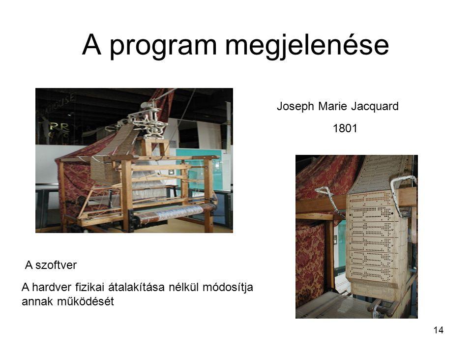 14 A program megjelenése Joseph Marie Jacquard A szoftver A hardver fizikai átalakítása nélkül módosítja annak működését 1801
