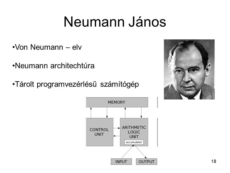18 Neumann János Von Neumann – elv Neumann architechtúra Tárolt programvezérlésű számítógép