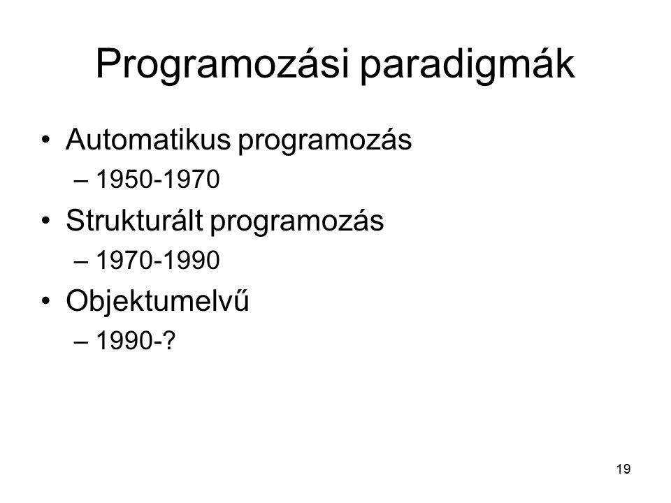19 Programozási paradigmák Automatikus programozás –1950-1970 Strukturált programozás –1970-1990 Objektumelvű –1990-