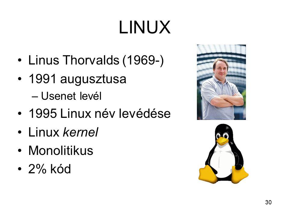 30 LINUX Linus Thorvalds (1969-) 1991 augusztusa –Usenet levél 1995 Linux név levédése Linux kernel Monolitikus 2% kód