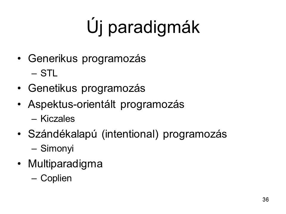 36 Új paradigmák Generikus programozás –STL Genetikus programozás Aspektus-orientált programozás –Kiczales Szándékalapú (intentional) programozás –Simonyi Multiparadigma –Coplien
